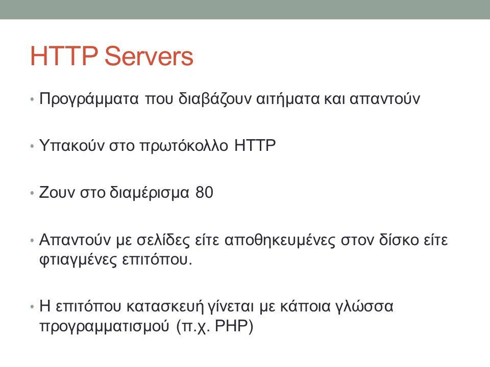 HTTP Servers Προγράμματα που διαβάζουν αιτήματα και απαντούν Υπακούν στο πρωτόκολλο HTTP Ζουν στο διαμέρισμα 80 Απαντούν με σελίδες είτε αποθηκευμένες