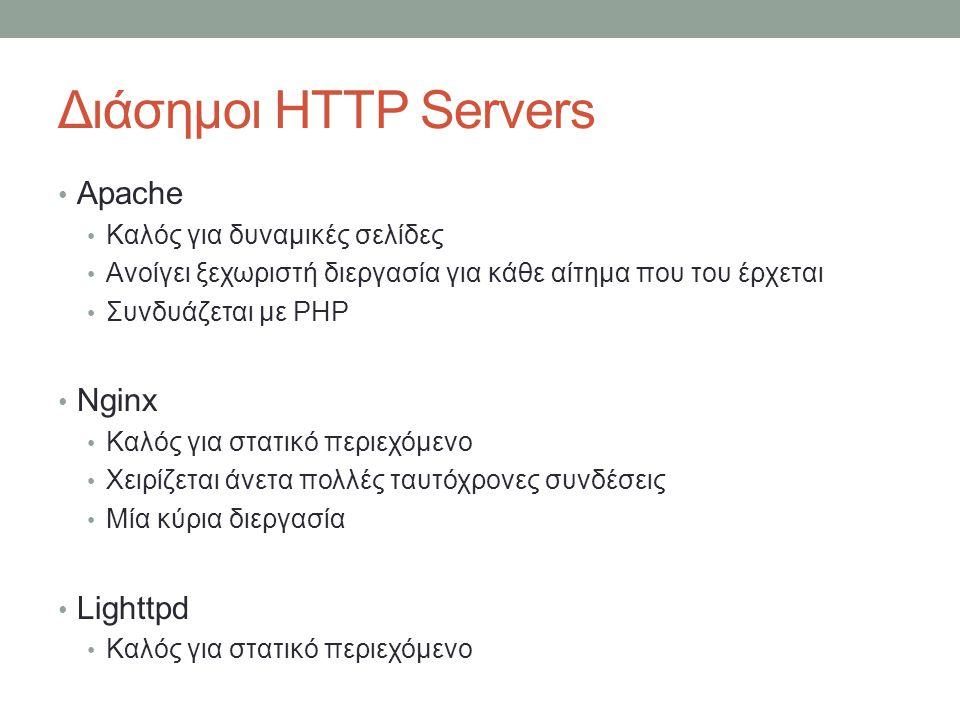 Διάσημοι HTTP Servers Apache Καλός για δυναμικές σελίδες Ανοίγει ξεχωριστή διεργασία για κάθε αίτημα που του έρχεται Συνδυάζεται με PHP Nginx Καλός γι
