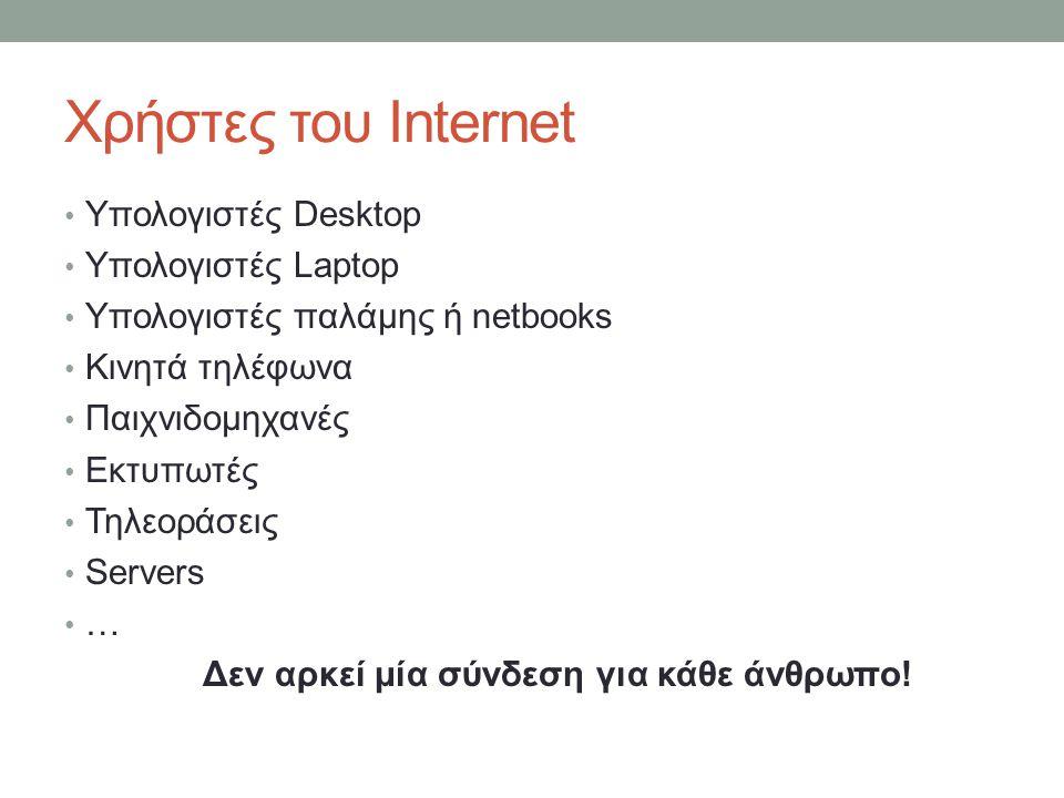Χρήστες του Internet Υπολογιστές Desktop Υπολογιστές Laptop Υπολογιστές παλάμης ή netbooks Κινητά τηλέφωνα Παιχνιδομηχανές Εκτυπωτές Τηλεοράσεις Serve
