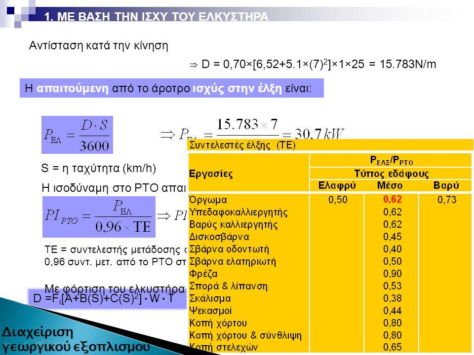 D =F i [A+B(S)+C(S) 2 ] WT ⇒ D = 0,70×[6,52+5.1×(7) 2 ]×1×25 = 15.783Ν/m 12 από 87 Αντίσταση κατά την κίνηση Η απαιτούμενη από το άροτρο ισχύς στην έλξη είναι: S = η ταχύτητα (km/h) Η ισοδύναμη στο ΡΤΟ απαιτούμενη ισχύς είναι: Με φόρτιση του ελκυστήρα 85% γίνεται: ΤΕ = συντελεστής μετάδοσης στην έλξη, 0,96 συντ.