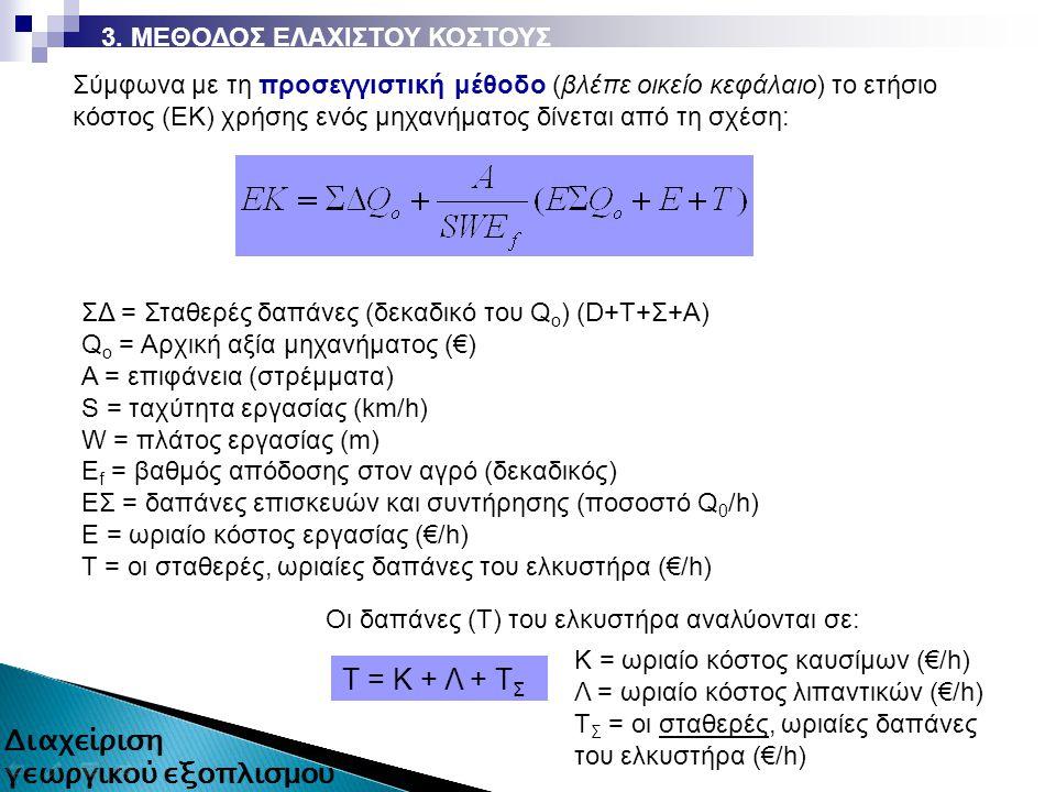 ΣΔ = Σταθερές δαπάνες (δεκαδικό του Q o ) (D+T+Σ+Α) Q o = Αρχική αξία μηχανήματος (€) Α = επιφάνεια (στρέμματα) S = ταχύτητα εργασίας (km/h) W = πλάτος εργασίας (m) Ε f = βαθμός απόδοσης στον αγρό (δεκαδικός) ΕΣ = δαπάνες επισκευών και συντήρησης (ποσοστό Q 0 /h) Ε = ωριαίο κόστος εργασίας (€/h) Τ = οι σταθερές, ωριαίες δαπάνες του ελκυστήρα (€/h) Σύμφωνα με τη προσεγγιστική μέθοδο (βλέπε οικείο κεφάλαιο) το ετήσιο κόστος (ΕΚ) χρήσης ενός μηχανήματος δίνεται από τη σχέση: 3.