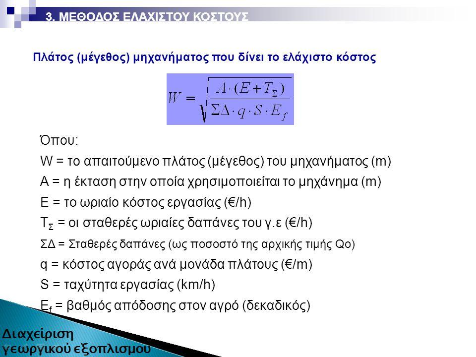 Όπου: W = το απαιτούμενο πλάτος (μέγεθος) του μηχανήματος (m) A = η έκταση στην οποία χρησιμοποιείται το μηχάνημα (m) Ε = το ωριαίο κόστος εργασίας (€