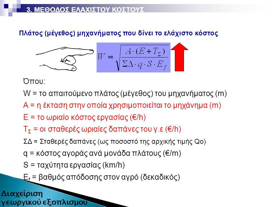 3. ΜΕΘΟΔΟΣ ΕΛΑΧΙΣΤΟΥ ΚΟΣΤΟΥΣ Όπου: W = το απαιτούμενο πλάτος (μέγεθος) του μηχανήματος (m) A = η έκταση στην οποία χρησιμοποιείται το μηχάνημα (m) Ε =