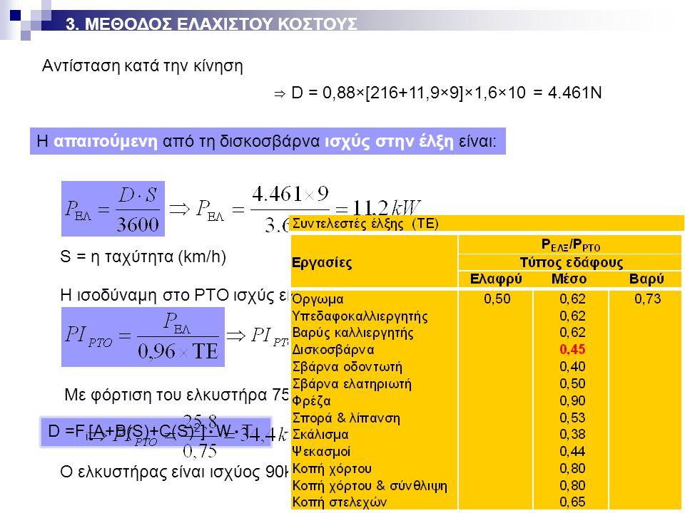 D =F i [A+B(S)+C(S) 2 ] WT ⇒ D = 0,88×[216+11,9×9]×1,6×10 = 4.461Ν Αντίσταση κατά την κίνηση Η απαιτούμενη από τη δισκοσβάρνα ισχύς στην έλξη είναι: S