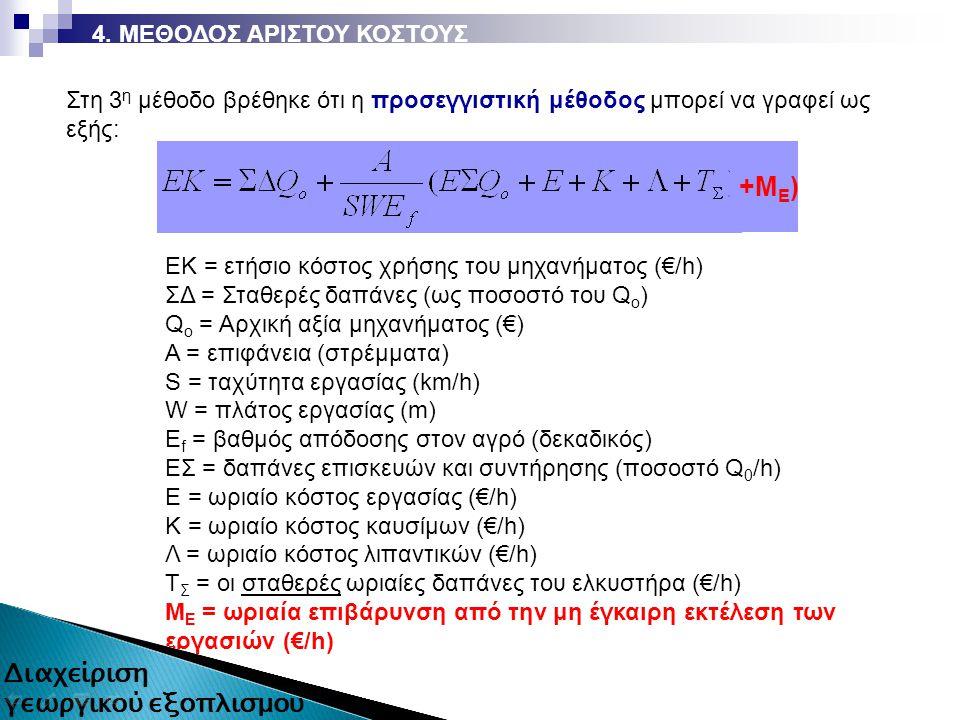 ΕΚ = ετήσιο κόστος χρήσης του μηχανήματος (€/h) ΣΔ = Σταθερές δαπάνες (ως ποσοστό του Q o ) Q o = Αρχική αξία μηχανήματος (€) Α = επιφάνεια (στρέμματα) S = ταχύτητα εργασίας (km/h) W = πλάτος εργασίας (m) Ε f = βαθμός απόδοσης στον αγρό (δεκαδικός) ΕΣ = δαπάνες επισκευών και συντήρησης (ποσοστό Q 0 /h) Ε = ωριαίο κόστος εργασίας (€/h) Κ = ωριαίο κόστος καυσίμων (€/h) Λ = ωριαίο κόστος λιπαντικών (€/h) Τ Σ = οι σταθερές ωριαίες δαπάνες του ελκυστήρα (€/h) Μ Ε = ωριαία επιβάρυνση από την μη έγκαιρη εκτέλεση των εργασιών (€/h) Στη 3 η μέθοδο βρέθηκε ότι η προσεγγιστική μέθοδος μπορεί να γραφεί ως εξής: 4.
