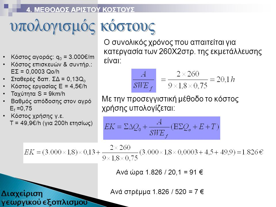 Κόστος αγοράς: q 0 = 3.000€/m Κόστος επισκευών & συντήρ.: ΕΣ = 0,0003 Qo/h Σταθερές δαπ. ΣΔ = 0,13Q o Κόστος εργασίας Ε = 4,5€/h Ταχύτητα S = 9km/h Βα