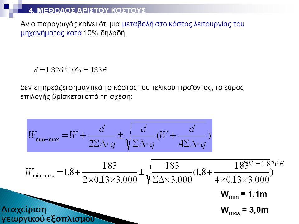Αν ο παραγωγός κρίνει ότι μια μεταβολή στο κόστος λειτουργίας του μηχανήματος κατά 10% δηλαδή, δεν επηρεάζει σημαντικά το κόστος του τελικού προϊόντος, το εύρος επιλογής βρίσκεται από τη σχέση: W min = 1.1m W max = 3,0m
