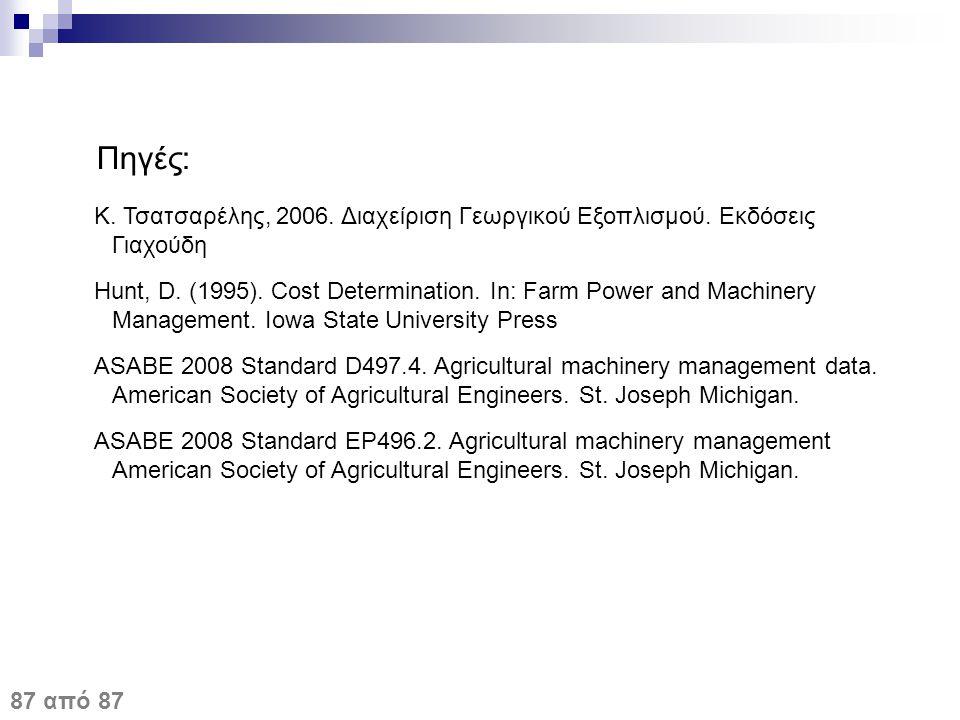 Πηγές: Κ. Τσατσαρέλης, 2006. Διαχείριση Γεωργικού Εξοπλισμού. Εκδόσεις Γιαχούδη Hunt, D. (1995). Cost Determination. In: Farm Power and Machinery Mana