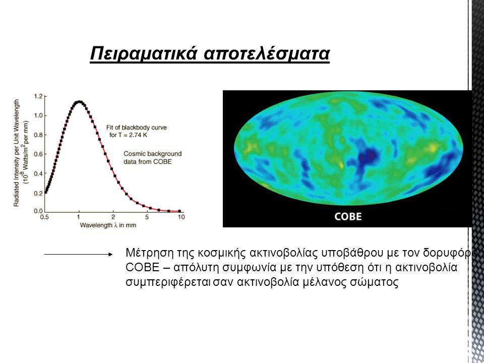 Πειραματικά αποτελέσματα Μέτρηση της κοσμικής ακτινοβολίας υποβάθρου με τον δορυφόρο COBE – απόλυτη συμφωνία με την υπόθεση ότι η ακτινοβολία συμπεριφ
