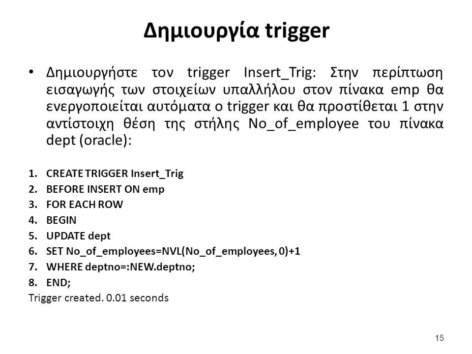 Δημιουργία trigger Δημιουργήστε τον trigger Insert_Trig: Στην περίπτωση εισαγωγής των στοιχείων υπαλλήλου στον πίνακα emp θα ενεργοποιείται αυτόματα ο trigger και θα προστίθεται 1 στην αντίστοιχη θέση της στήλης No_of_employee του πίνακα dept (oracle): 1.CREATE TRIGGER Insert_Trig 2.BEFORE INSERT ON emp 3.FOR EACH ROW 4.BEGIN 5.UPDATE dept 6.SET No_of_employees=NVL(No_of_employees, 0)+1 7.WHERE deptno=:NEW.deptno; 8.END; Trigger created.