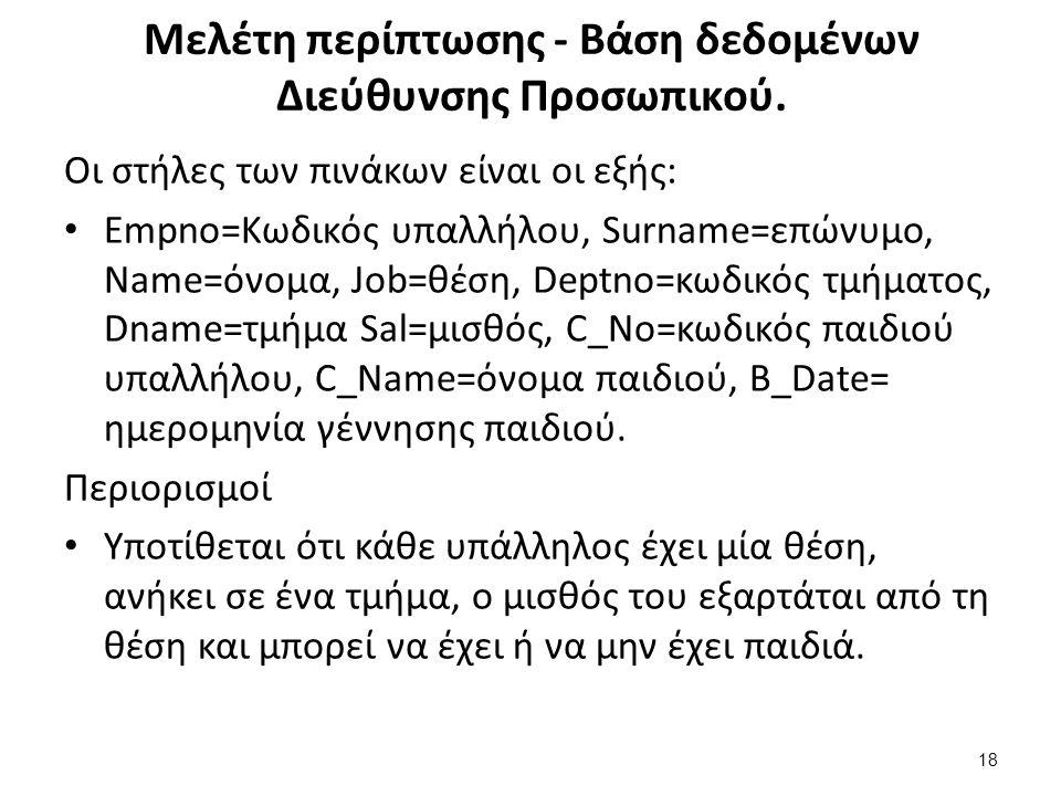Μελέτη περίπτωσης - Βάση δεδομένων Διεύθυνσης Προσωπικού. Οι στήλες των πινάκων είναι οι εξής: Empno=Κωδικός υπαλλήλου, Surname=επώνυμο, Name=όνομα, J