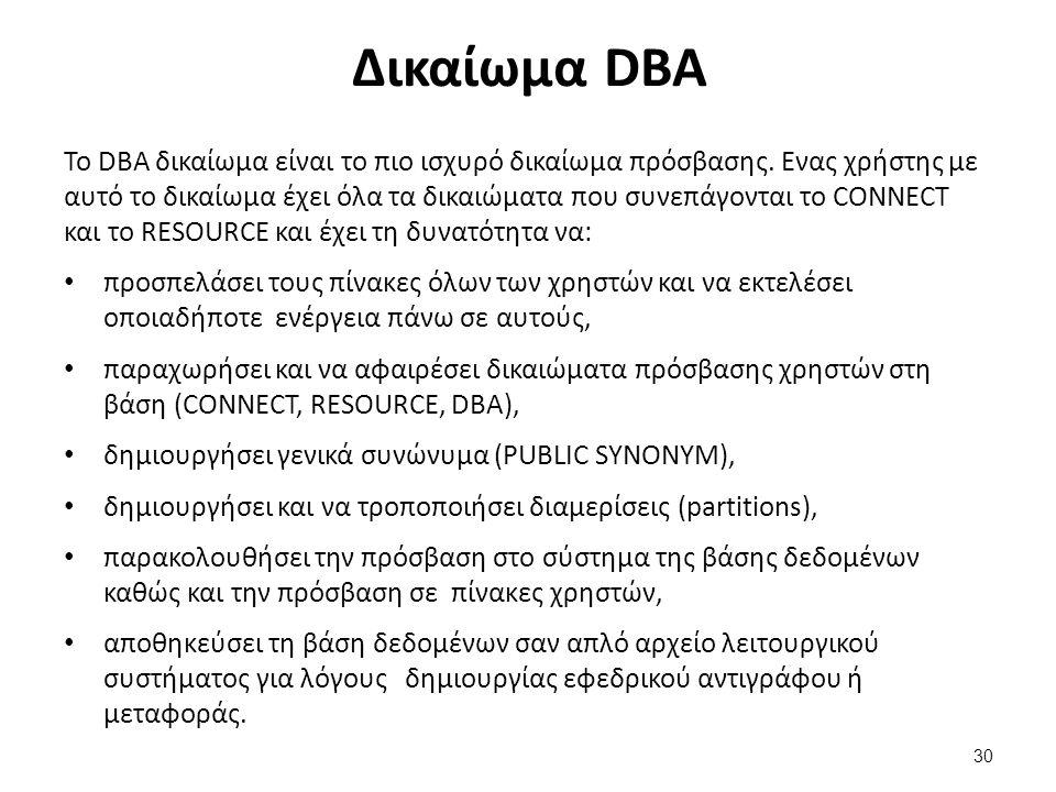 Δικαίωμα DBA Το DBA δικαίωμα είναι το πιο ισχυρό δικαίωμα πρόσβασης. Ενας χρήστης με αυτό το δικαίωμα έχει όλα τα δικαιώματα που συνεπάγονται το CONNE