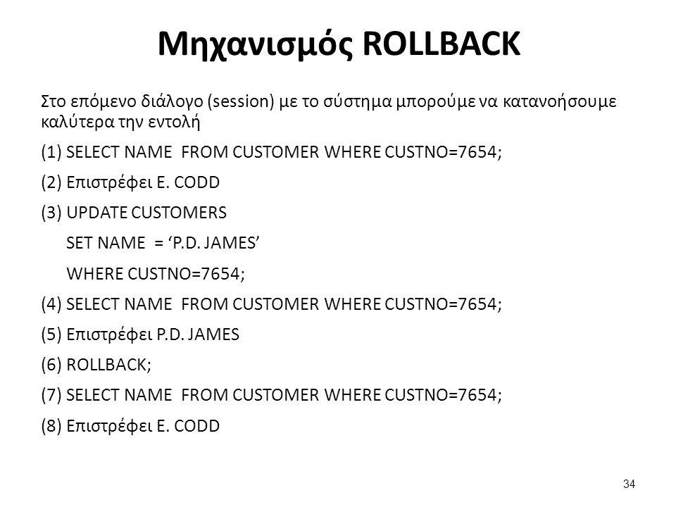 Μηχανισμός ROLLBACK Στο επόμενο διάλογο (session) με το σύστημα μπορούμε να κατανοήσουμε καλύτερα την εντολή (1) SELECT NAME FROM CUSTOMER WHERE CUSTN