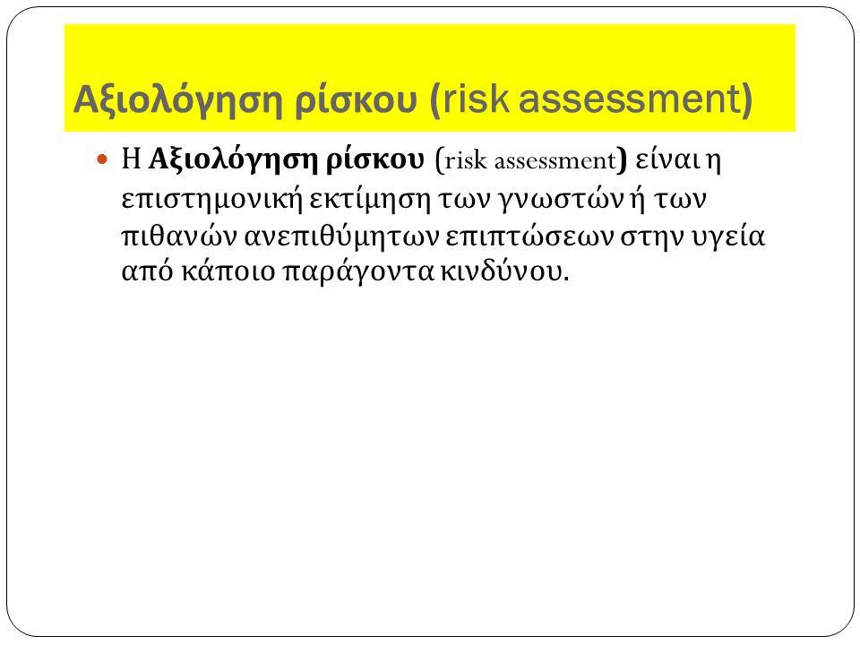 Αξιολόγηση ρίσκου (risk assessment) Η Αξιολόγηση ρίσκου (risk assessment) είναι η επιστημονική εκτίμηση των γνωστών ή των πιθανών ανεπιθύμητων επιπτώσεων στην υγεία από κάποιο παράγοντα κινδύνου.