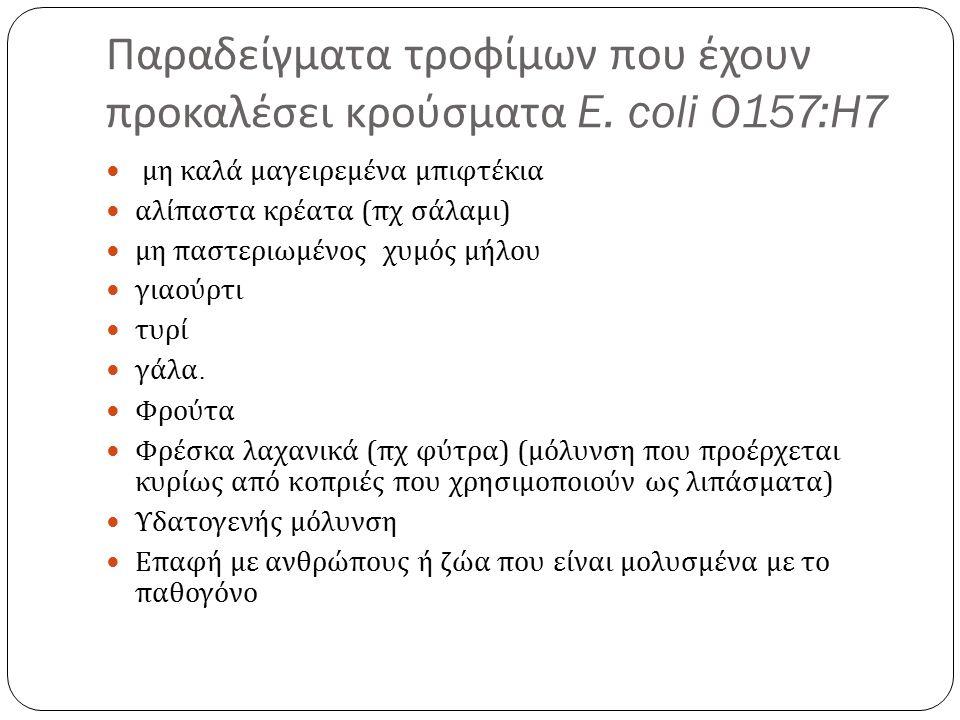 Παραδείγματα τροφίμων που έχουν προκαλέσει κρούσματα E.
