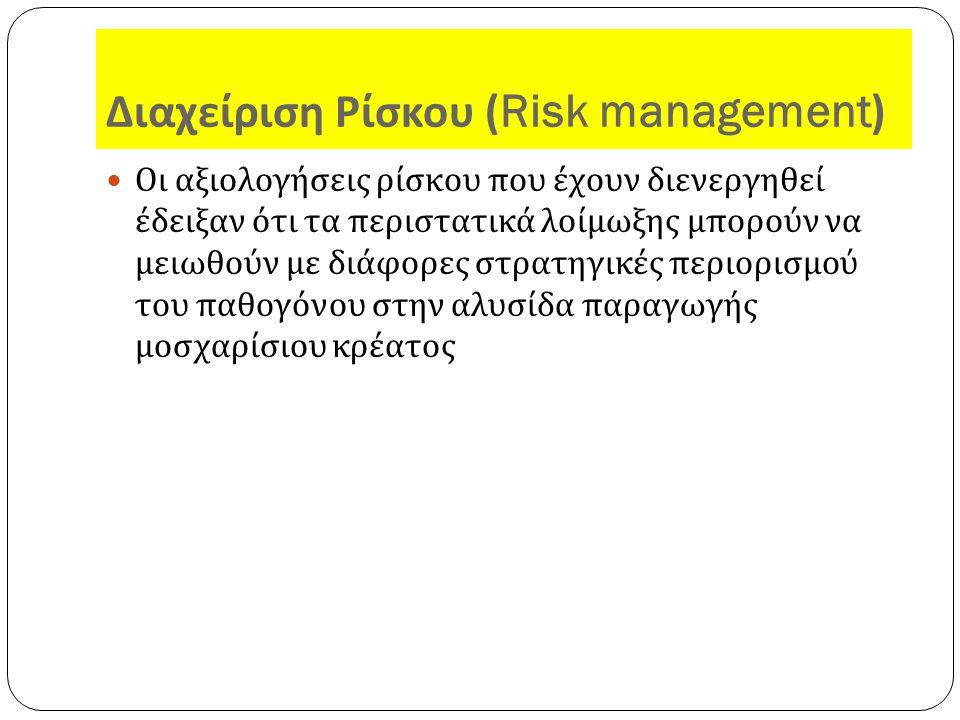 Διαχείριση Ρίσκου (Risk management) Οι αξιολογήσεις ρίσκου που έχουν διενεργηθεί έδειξαν ότι τα περιστατικά λοίμωξης μπορούν να μειωθούν με διάφορες στρατηγικές περιορισμού του παθογόνου στην αλυσίδα παραγωγής μοσχαρίσιου κρέατος