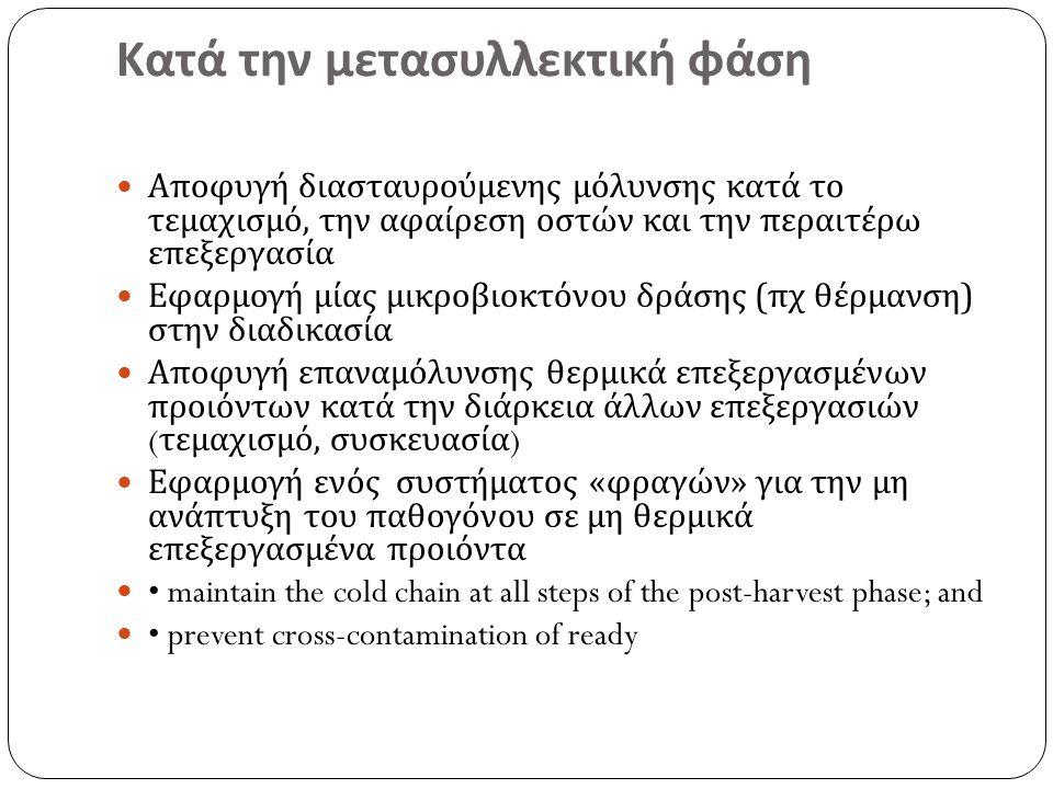 Κατά την μετασυλλεκτική φάση Αποφυγή διασταυρούμενης μόλυνσης κατά το τεμαχισμό, την αφαίρεση οστών και την περαιτέρω επεξεργασία Εφαρμογή μίας μικροβιοκτόνου δράσης ( πχ θέρμανση ) στην διαδικασία Αποφυγή επαναμόλυνσης θερμικά επεξεργασμένων προιόντων κατά την διάρκεια άλλων επεξεργασιών ( τεμαχισμό, συσκευασία ) Εφαρμογή ενός συστήματος « φραγών » για την μη ανάπτυξη του παθογόνου σε μη θερμικά επεξεργασμένα προιόντα maintain the cold chain at all steps of the post-harvest phase; and prevent cross-contamination of ready
