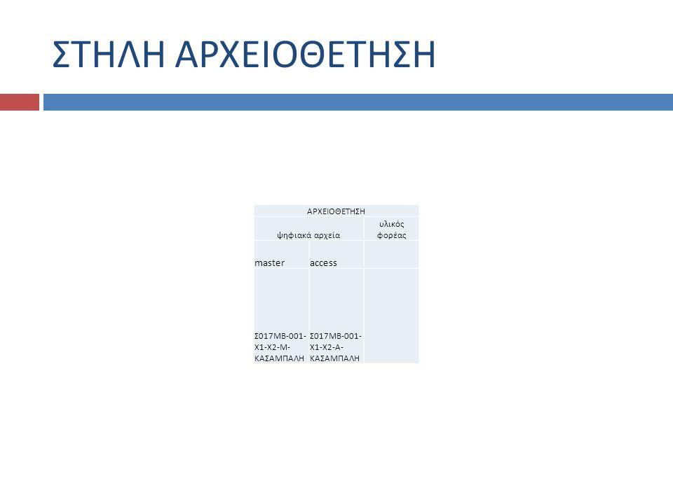 ΣΤΗΛΗ ΑΡΧΕΙΟΘΕΤΗΣΗ ΑΡΧΕΙΟΘΕΤΗΣΗ ψηφιακά αρχεία υλικός φορέας masteraccess Σ017ΜΒ-001- Χ1-Χ2-Μ- ΚΑΣΑΜΠΑΛΗ Σ017ΜΒ-001- Χ1-Χ2-Α- ΚΑΣΑΜΠΑΛΗ