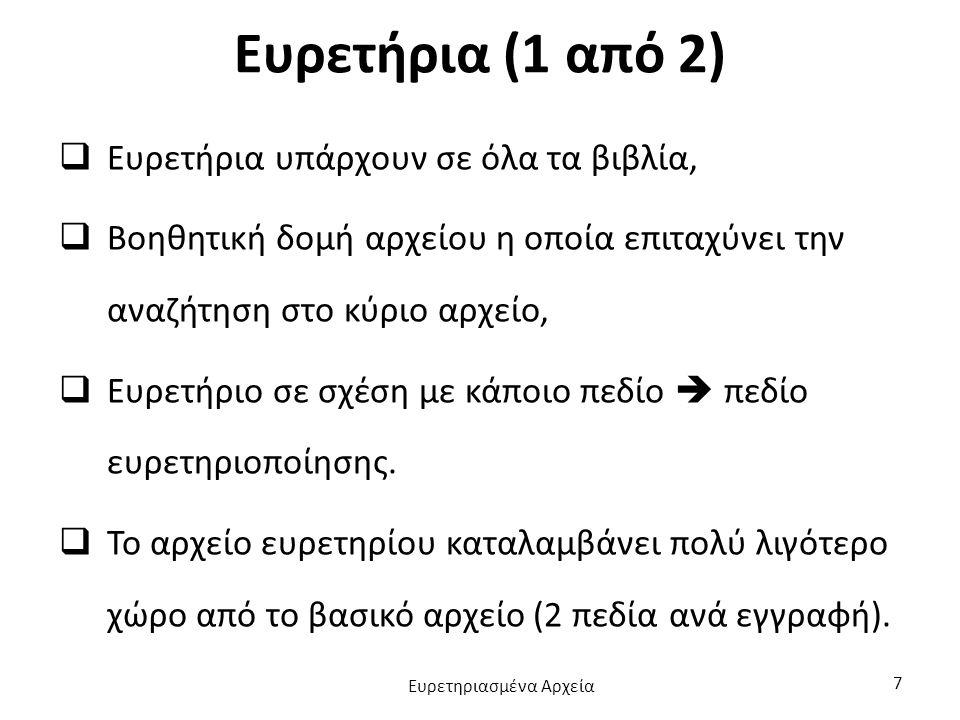 Ευρετήρια (1 από 2)  Ευρετήρια υπάρχουν σε όλα τα βιβλία,  Βοηθητική δομή αρχείου η οποία επιταχύνει την αναζήτηση στο κύριο αρχείο,  Ευρετήριο σε