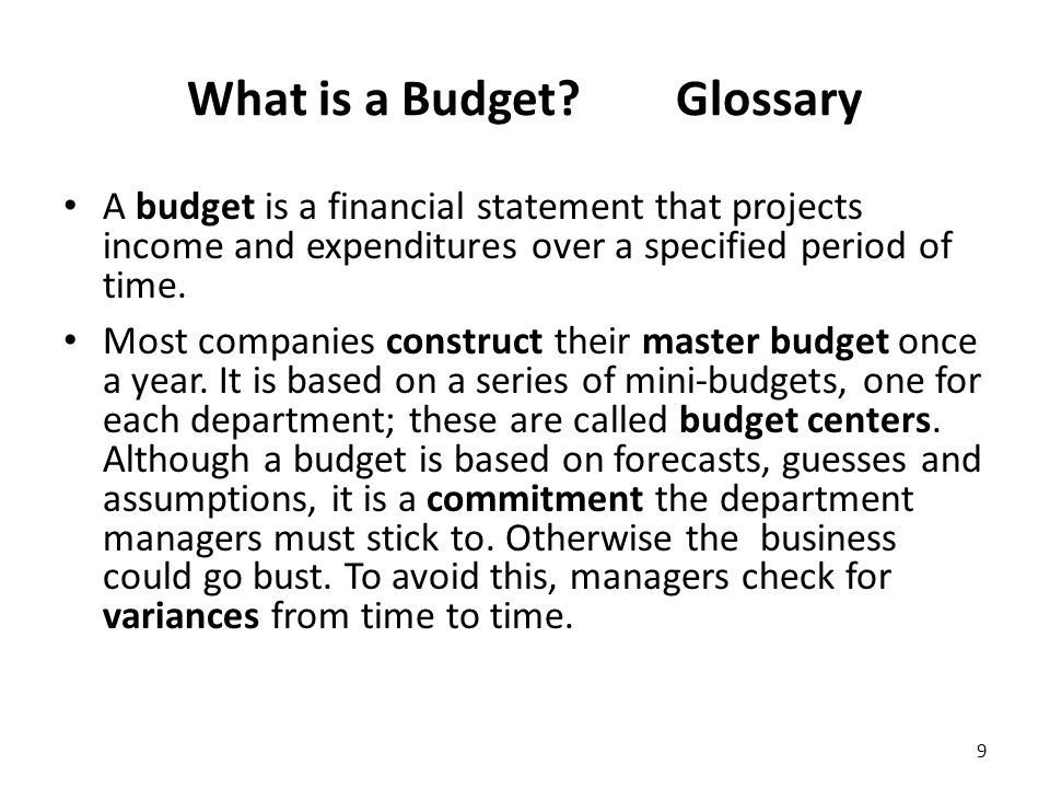 What is a Budget.