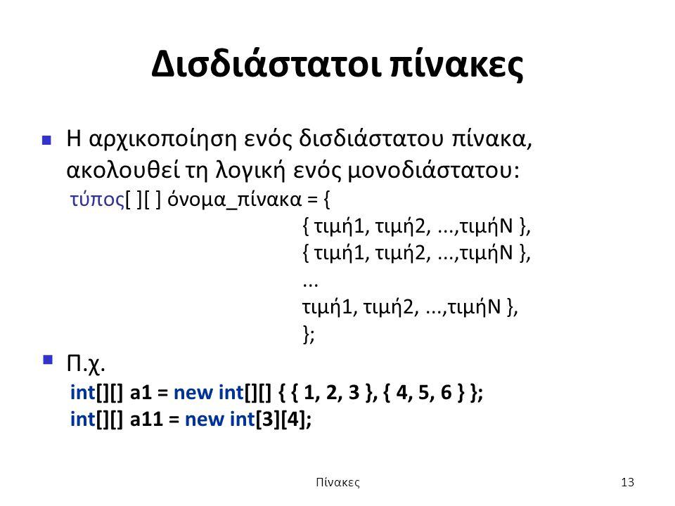 Δισδιάστατοι πίνακες Η αρχικοποίηση ενός δισδιάστατου πίνακα, ακολουθεί τη λογική ενός μονοδιάστατου: τύπος[ ][ ] όνομα_πίνακα = { { τιμή1, τιμή2,...,τιμήN },...