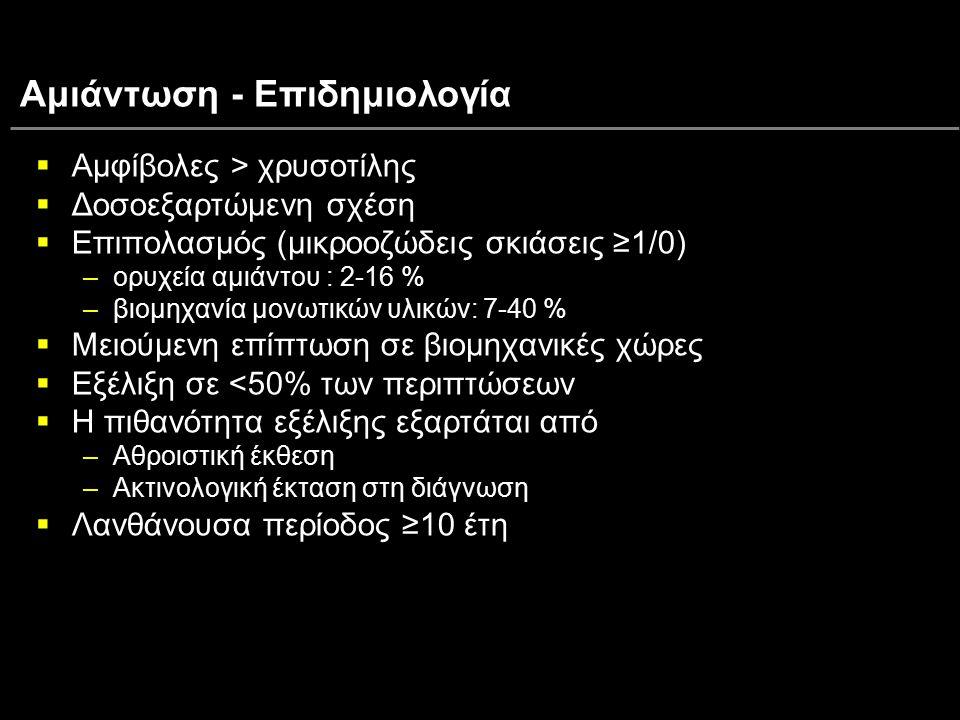 Αμιάντωση - Επιδημιολογία  Αμφίβολες > χρυσοτίλης  Δοσοεξαρτώμενη σχέση  Επιπολασμός (μικροοζώδεις σκιάσεις ≥1/0) –ορυχεία αμιάντου : 2-16 % –βιομη