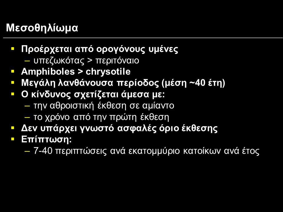 Μεσοθηλίωμα  Προέρχεται από ορογόνους υμένες –υπεζωκότας > περιτόναιο  Amphiboles > chrysotile  Μεγάλη λανθάνουσα περίοδος (μέση ~40 έτη)  Ο κίνδυ