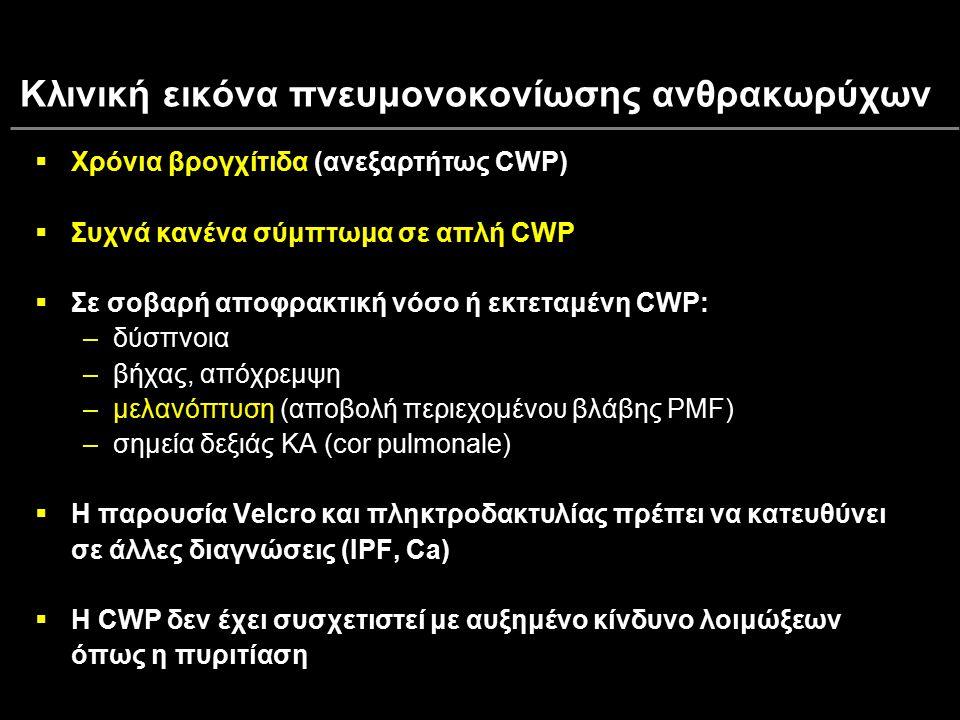 Κλινική εικόνα πνευμονοκονίωσης ανθρακωρύχων  Χρόνια βρογχίτιδα  Χρόνια βρογχίτιδα (ανεξαρτήτως CWP)  Συχνά κανένα σύμπτωμα σε απλή CWP  Σε σοβαρή