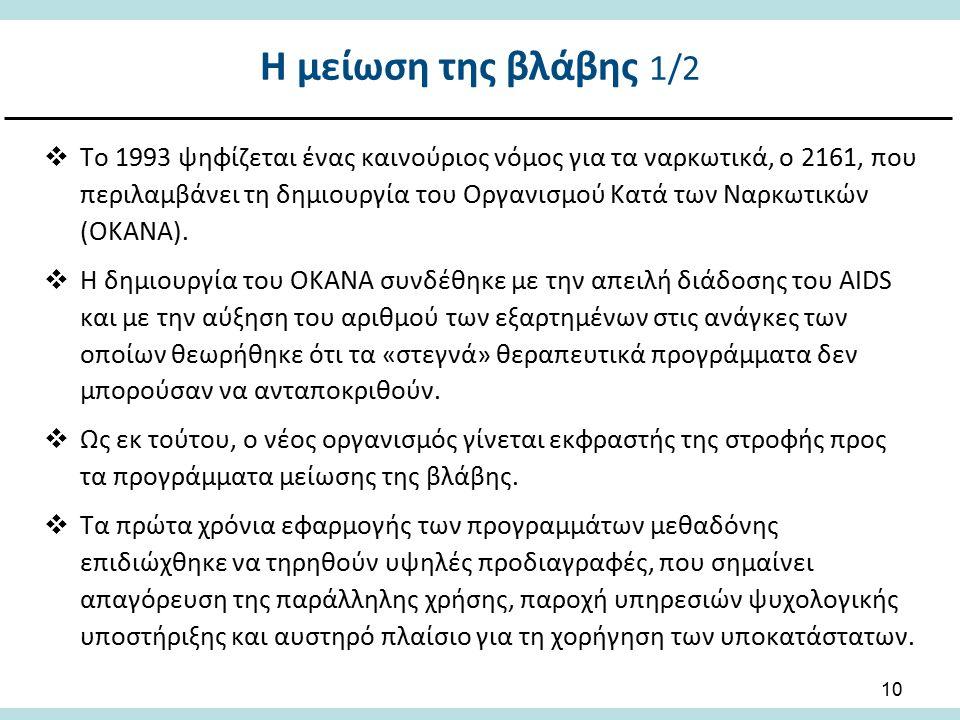 10  Το 1993 ψηφίζεται ένας καινούριος νόμος για τα ναρκωτικά, ο 2161, που περιλαμβάνει τη δημιουργία του Οργανισμού Κατά των Ναρκωτικών (ΟΚΑΝΑ).