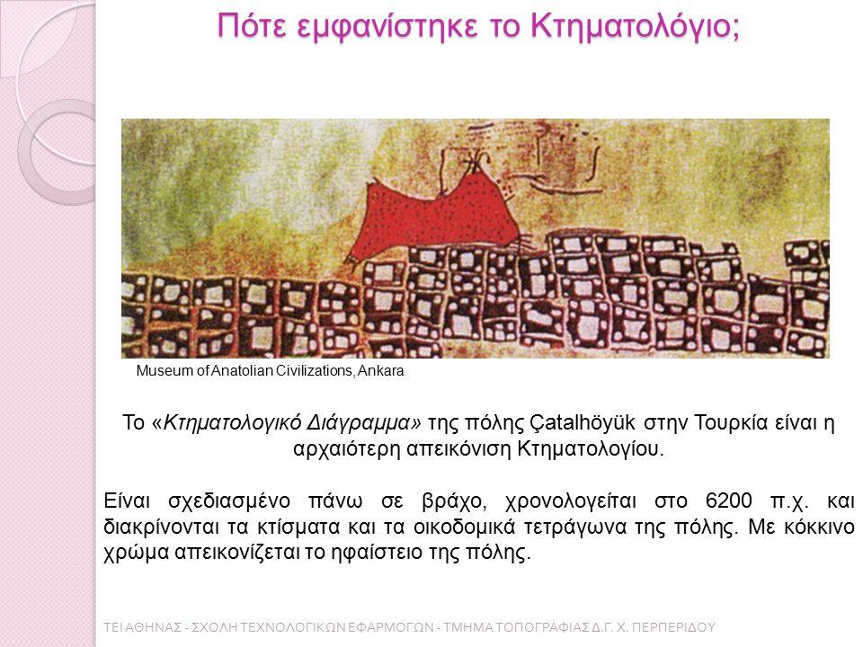 Πότε εμφανίστηκε το Κτηματολόγιο; Το «Κτηματολογικό Διάγραμμα» της πόλης Çatalhöyük στην Τουρκία είναι η αρχαιότερη απεικόνιση Κτηματολογίου. Είναι σχ