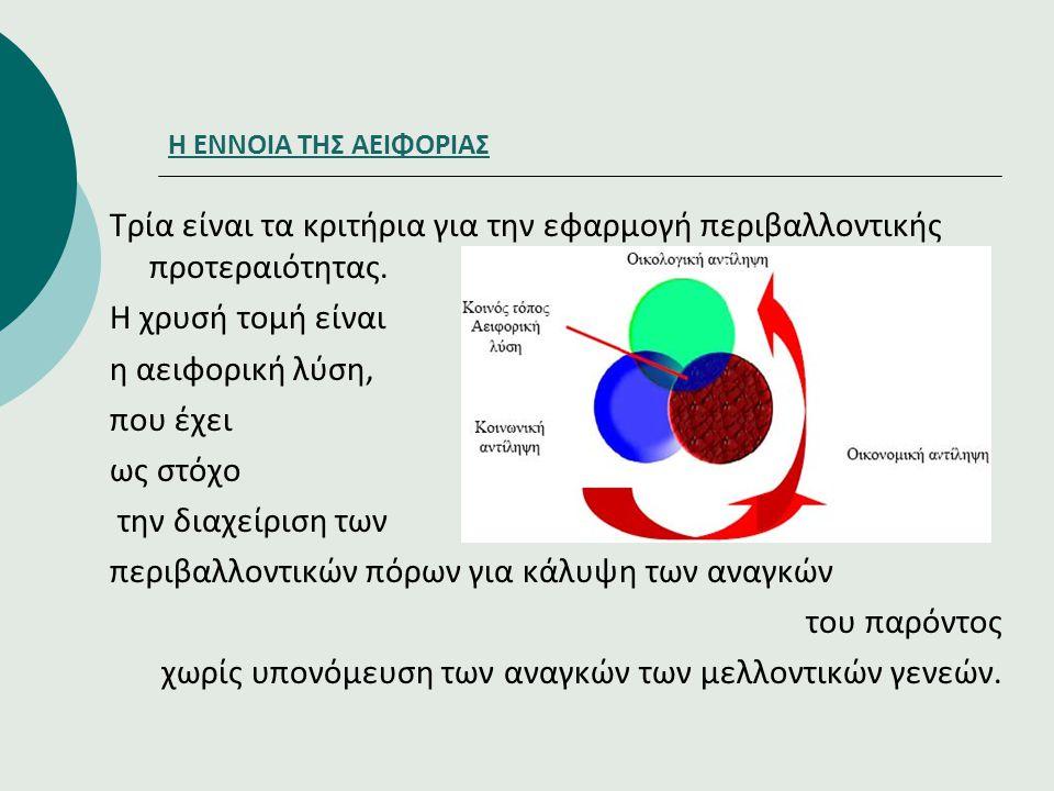 Η ΕΝΝΟΙΑ ΤΗΣ ΑΕΙΦΟΡΙΑΣ Τρία είναι τα κριτήρια για την εφαρμογή περιβαλλοντικής προτεραιότητας. Η χρυσή τομή είναι η αειφορική λύση, που έχει ως στόχο