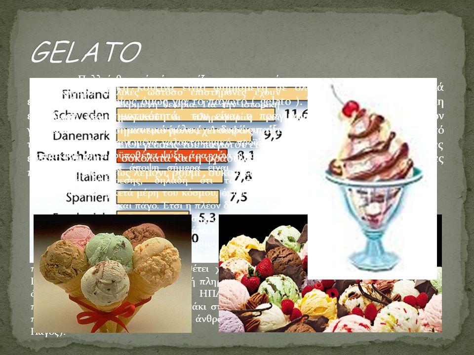 Η ιταλική κουζίνα είναι φημισμένη σε όλον τον κόσμο για πολλά εδέσματά της κυρίως όμως για το παγωτό ( gelato ). Ένας λόγος για τη μεγάλη εξάπλωσή και