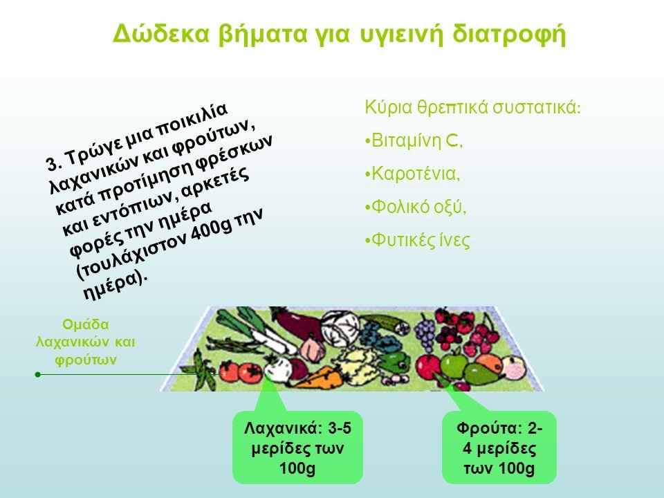 3. Τρώγε μια ποικιλία λαχανικών και φρούτων, κατά προτίμηση φρέσκων και εντόπιων, αρκετές φορές την ημέρα (τουλάχιστον 400g την ημέρα). Ομάδα λαχανικώ