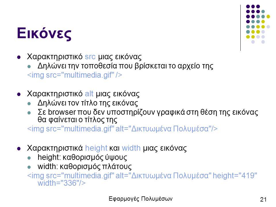 Εφαρμογές Πολυμέσων 21 Εικόνες Χαρακτηριστικό src μιας εικόνας Δηλώνει την τοποθεσία που βρίσκεται το αρχείο της Χαρακτηριστικό alt μιας εικόνας Δηλών