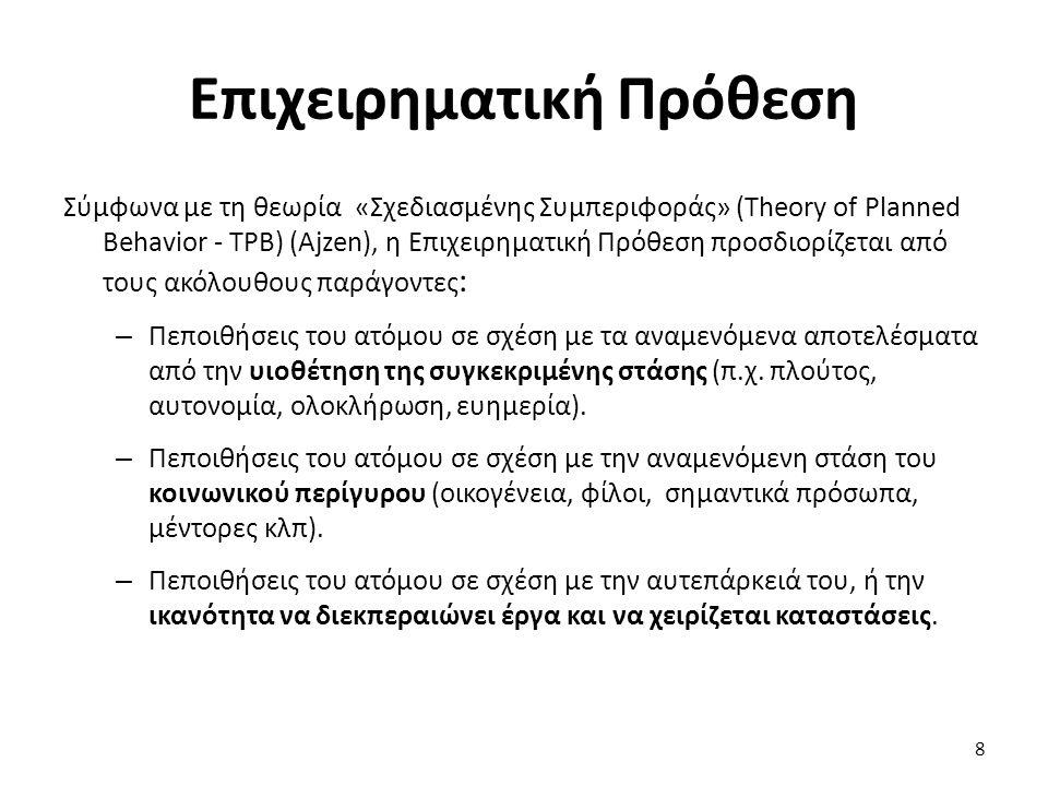 Επιχειρηματική Πρόθεση Σύμφωνα με τη θεωρία «Σχεδιασμένης Συμπεριφοράς» (Theory of Planned Behavior - TPB) (Ajzen), η Επιχειρηματική Πρόθεση προσδιορίζεται από τους ακόλουθους παράγοντες : – Πεποιθήσεις του ατόμου σε σχέση με τα αναμενόμενα αποτελέσματα από την υιοθέτηση της συγκεκριμένης στάσης (π.χ.