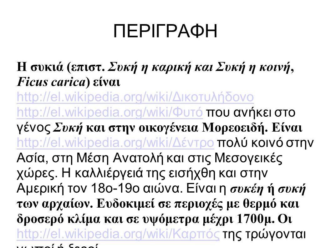 ΠΕΡΙΓΡΑΦΗ Η συκιά (επιστ. Συκή η καρική και Συκή η κοινή, Ficus carica) είναι http://el.wikipedia.org/wiki/Δικοτυλήδονο http://el.wikipedia.org/wiki/Φ