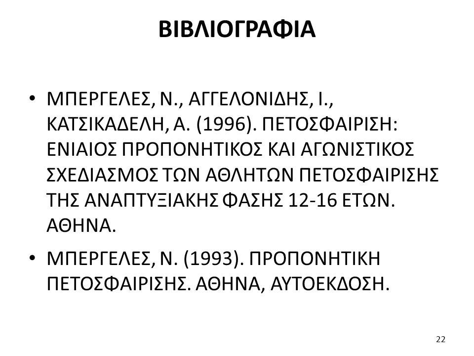 ΒΙΒΛΙΟΓΡΑΦΙΑ ΜΠΕΡΓΕΛΕΣ, Ν., ΑΓΓΕΛΟΝΙΔΗΣ, Ι., ΚΑΤΣΙΚΑΔΕΛΗ, Α. (1996). ΠΕΤΟΣΦΑΙΡΙΣΗ: ΕΝΙΑΙΟΣ ΠΡΟΠΟΝΗΤΙΚΟΣ ΚΑΙ ΑΓΩΝΙΣΤΙΚΟΣ ΣΧΕΔΙΑΣΜΟΣ ΤΩΝ ΑΘΛΗΤΩΝ ΠΕΤΟΣΦΑ