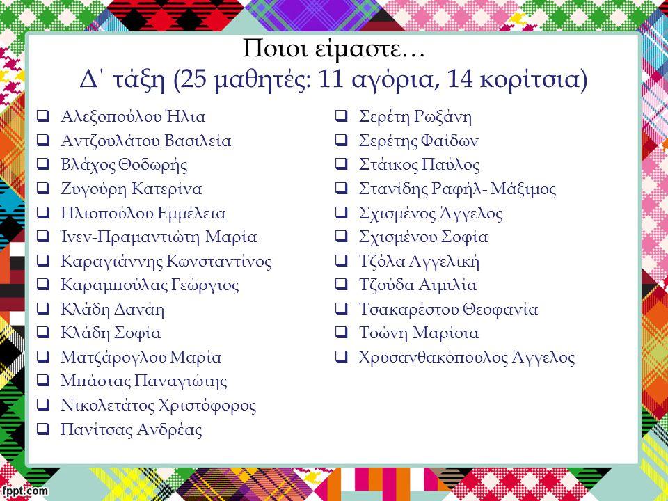 Ποιοι είμαστε… Δ΄ τάξη (25 μαθητές: 11 αγόρια, 14 κορίτσια)  Αλεξοπούλου Ήλια  Αντζουλάτου Βασιλεία  Βλάχος Θοδωρής  Ζυγούρη Κατερίνα  Ηλιοπούλου