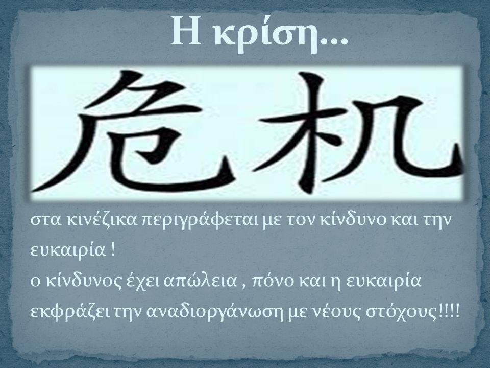 στα κινέζικα περιγράφεται με τον κίνδυνο και την ευκαιρία ! ο κίνδυνος έχει απώλεια, πόνο και η ευκαιρία εκφράζει την αναδιοργάνωση με νέους στόχους!!