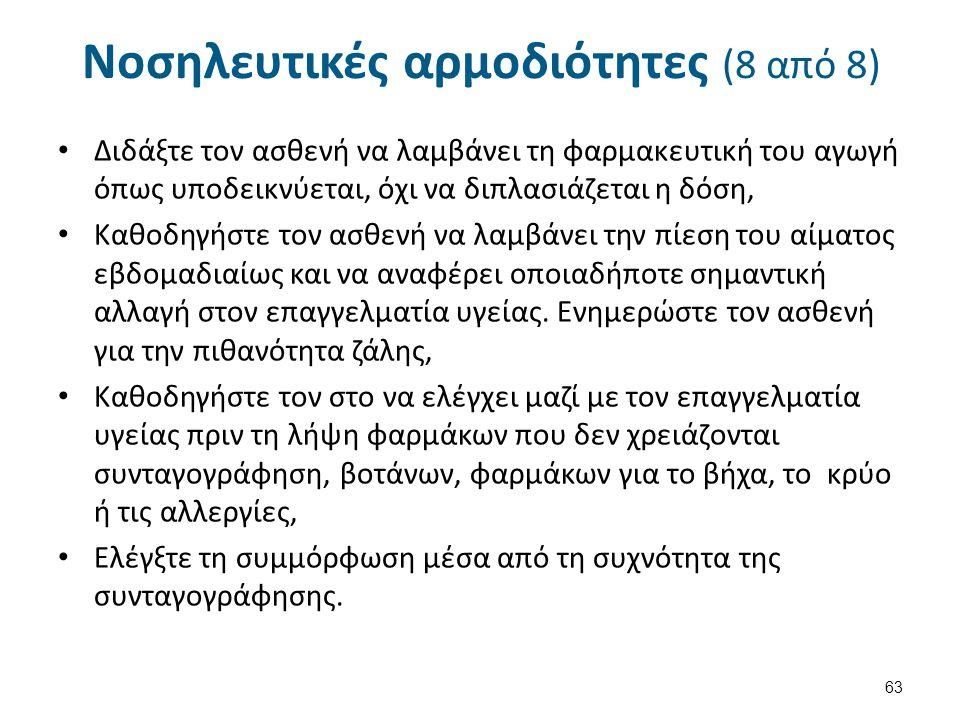 Νοσηλευτικές αρμοδιότητες (8 από 8) Διδάξτε τον ασθενή να λαμβάνει τη φαρμακευτική του αγωγή όπως υποδεικνύεται, όχι να διπλασιάζεται η δόση, Καθοδηγή