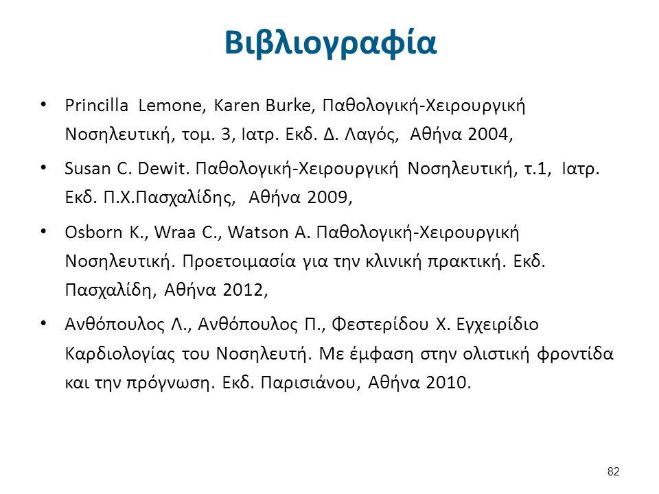 Βιβλιογραφία Princilla Lemone, Karen Burke, Παθολογική-Χειρουργική Νοσηλευτική, τομ. 3, Ιατρ. Εκδ. Δ. Λαγός, Αθήνα 2004, Susan C. Dewit. Παθολογική-Χε