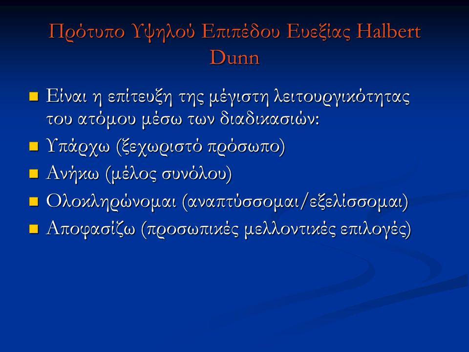 Πρότυπο Υψηλού Επιπέδου Ευεξίας Halbert Dunn Είναι η επίτευξη της μέγιστη λειτουργικότητας του ατόμου μέσω των διαδικασιών: Είναι η επίτευξη της μέγισ
