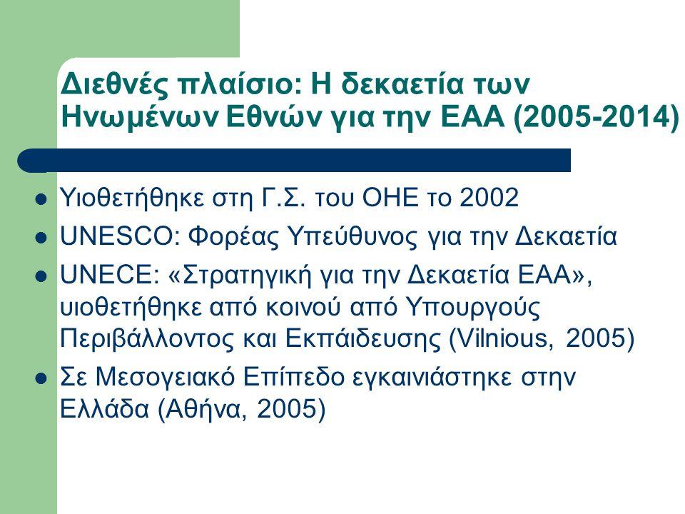 Διεθνές πλαίσιο: Η δεκαετία των Ηνωμένων Εθνών για την ΕΑΑ (2005-2014) Υιοθετήθηκε στη Γ.Σ. του ΟΗΕ το 2002 UNESCO: Φορέας Υπεύθυνος για την Δεκαετία