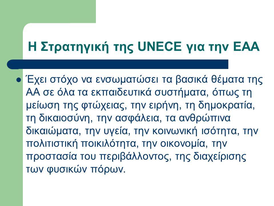 Η Στρατηγική της UNECE για την ΕΑΑ Έχει στόχο να ενσωματώσει τα βασικά θέματα της ΑΑ σε όλα τα εκπαιδευτικά συστήματα, όπως τη μείωση της φτώχειας, τη