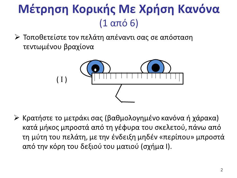Μέτρηση Κορικής Με Χρήση Κανόνα (1 από 6)  Τοποθετείστε τον πελάτη απέναντι σας σε απόσταση τεντωμένου βραχίονα ( Ι )  Κρατήστε το μετράκι σας (βαθμολογημένο κανόνα ή χάρακα) κατά μήκος μπροστά από τη γέφυρα του σκελετού, πάνω από τη μύτη του πελάτη, με την ένδειξη μηδέν «περίπου» μπροστά από την κόρη του δεξιού του ματιού (σχήμα Ι).