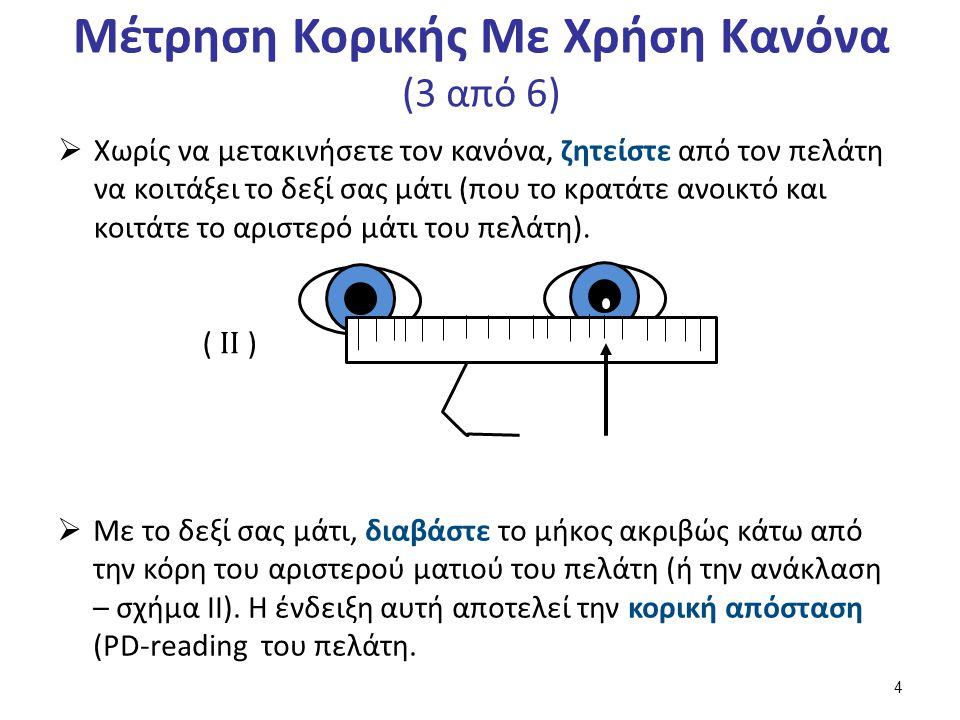 Μέτρηση Κορικής Με Χρήση Κανόνα (3 από 6)  Χωρίς να μετακινήσετε τον κανόνα, ζητείστε από τον πελάτη να κοιτάξει το δεξί σας μάτι (που το κρατάτε ανοικτό και κοιτάτε το αριστερό μάτι του πελάτη).
