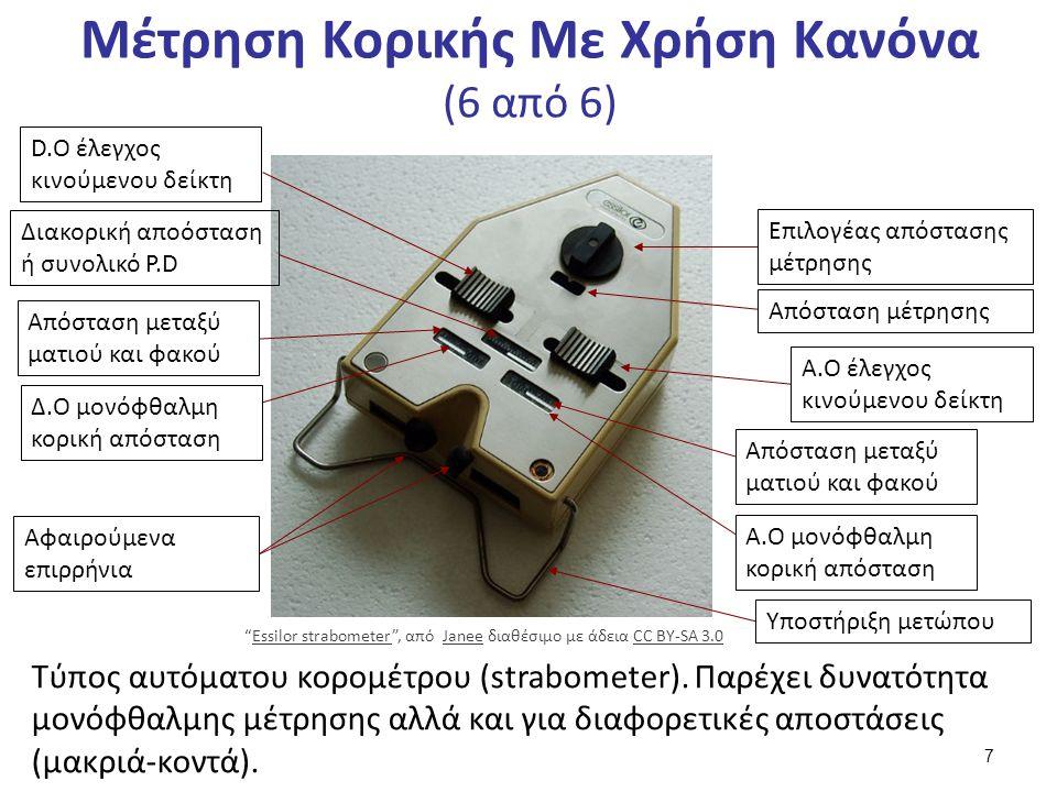 Μέτρηση Κορικής Με Χρήση Κανόνα (6 από 6) Τύπος αυτόματου κορομέτρου (strabometer).