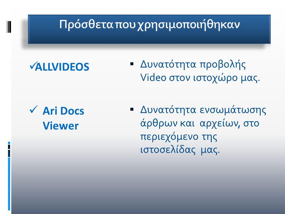  Δυνατότητα προβολής Video στον ιστοχώρο μας.  Δυνατότητα ενσωμάτωσης άρθρων και αρχείων, στο περιεχόμενο της ιστοσελίδας μας. ALLVIDEOS Ari Docs Vi