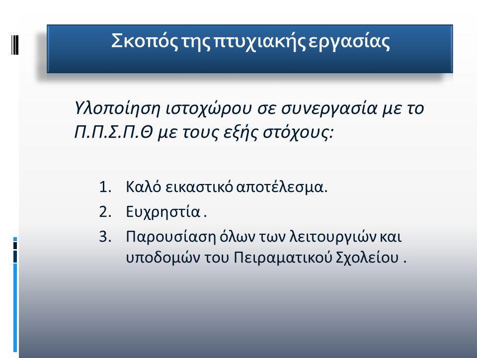 Υλοποίηση ιστοχώρου σε συνεργασία με το Π.Π.Σ.Π.Θ με τους εξής στόχους: 1.Καλό εικαστικό αποτέλεσμα. 2.Ευχρηστία. 3.Παρουσίαση όλων των λειτουργιών κα