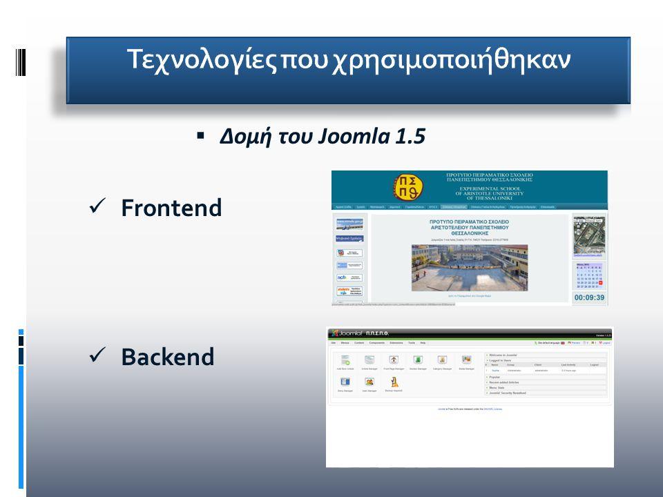  Δομή του Joomla 1.5 Frontend Backend